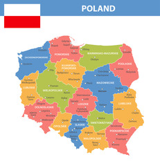 Poland Regions Cities Color Shades