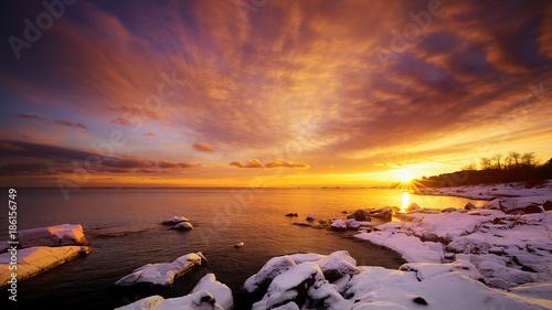 Aluminium Zonsopgang Brilliant Sunset at Brighton Beach