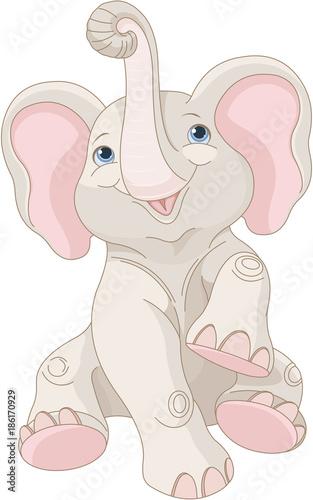 Deurstickers Sprookjeswereld Baby Elephant