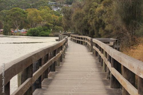 Papiers peints Route dans la forêt Footpath and bridge