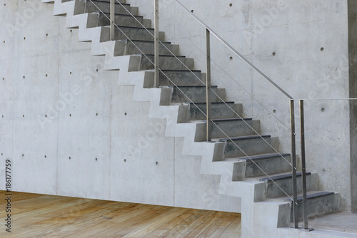 Concrete Staircase with concrete wall out of building