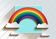 Rainbow With Clouds background. vector illustration. you can place relevant content on the area. - 186177914