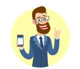 Hipster Businessman holding mobile phone and showing Rock and Roll sign - 186183576