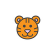 Tiger head filled outline icon, line vector sign, linear colorful pictogram isolated on white. Symbol, logo illustration. Pixel perfect vector graphics