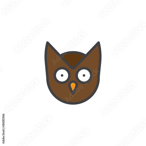 Fotobehang Uilen cartoon Owl head filled outline icon, line vector sign, linear colorful pictogram isolated on white. Wisdom symbol, logo illustration. Pixel perfect vector graphics
