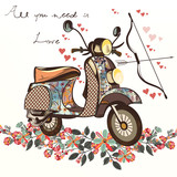 Cute fake hand drawn bike with bunch of spring flowers. Valentine's day card - 186188738
