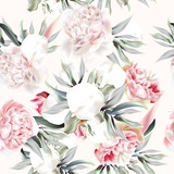 Vintage vector pattern with peach peony, leafs and tropical plants - 186190151