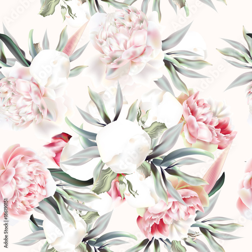 Fototapeta Vintage vector pattern with peach peony, leafs and tropical plants
