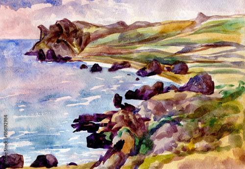 Fotobehang Lichtroze seascape. Watercolor painting. Mountains