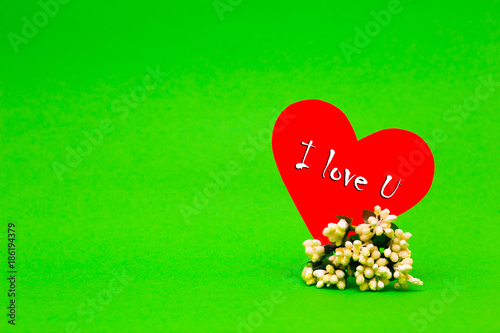 Happy Valentines Day card with red paper heart on green background - 186194379