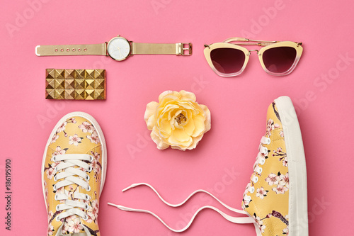 Fashion. Woman Accessories Set. Flat lay. Trendy Watch, Summer Sunglasses, Glamour fashion Floral Sneakers. Flower. Stylish Spring Hipster Girl. Pastel Color - 186195910