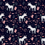 Vector pattern with cute unicorns, stars, cacti and clouds. Magic background with little unicorns and cacti. - 186196754