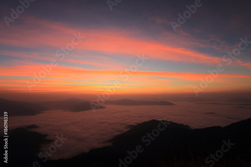 Poster Koraal Twilight and fog in mountain