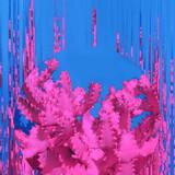 Pink Cactus. Contemporary Art. Glitch Mood. Minimal design fashion - 186202327