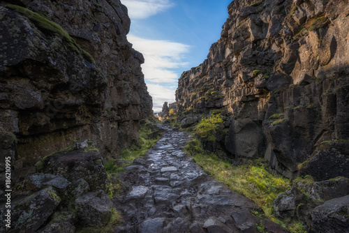 Foto op Canvas Grijze traf. Path between Eurasia and North American Tectonic Plates in Iceland