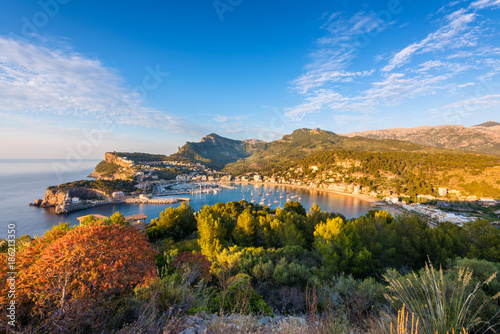 High Angle View on Port de Soller Mallorca at Sunset
