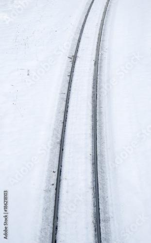 In de dag Spoorlijn 冬 雪 線路 素材
