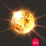 Golden Disco ball with light rays - 186236504