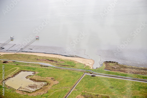 Fotobehang Pistache loire et océan atlantique vue du ciel sky view