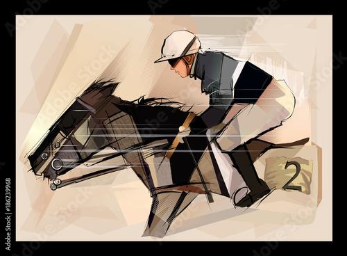 Staande foto Art Studio Horse with jockey on grunge backround