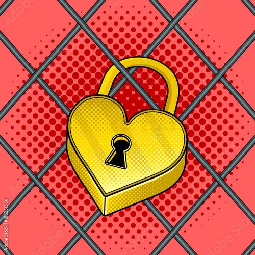 Heart shaped lock pop art vector illustration - 186251366