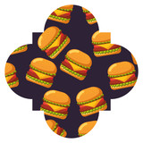 frame with hamburgers pattern background vector illustration design - 186265990