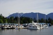 Yachts at the Burrard Inlet, Vancouver, Canada with Mountains in the background