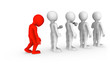 The sad red man stands in a queue.