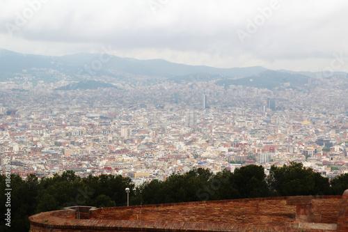 Foto op Canvas Barcelona View of Barcelona from Montjuic fort