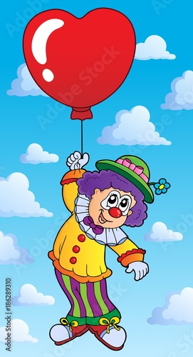 Fotobehang Voor kinderen Clown with heart shaped balloon theme 2