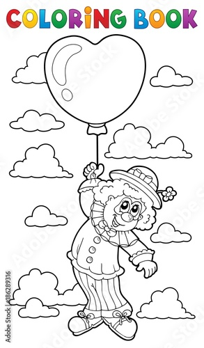 Fotobehang Voor kinderen Coloring book clown with balloon