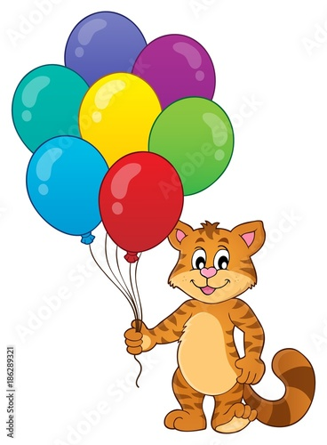 Fotobehang Voor kinderen Happy party cat theme image 1