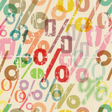 seamless percentage sign pattern background, grungy style vector illustration