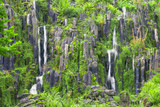 Handmade waterfall in autumn