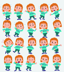 Cartoon character white girl with sweater. Set with different postures, attitudes and poses, doing different activities in isolated vector illustrations.