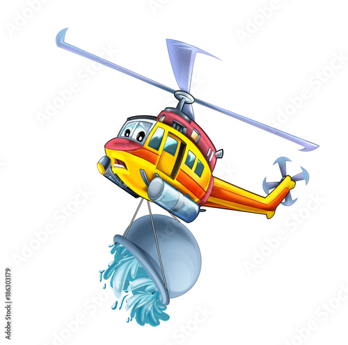 Cartoon funny looking helicopter - illustration for children - 186303179