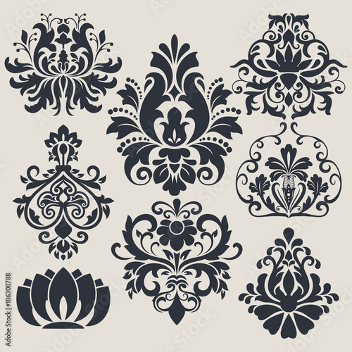 Vintage flower design elements - 186308788