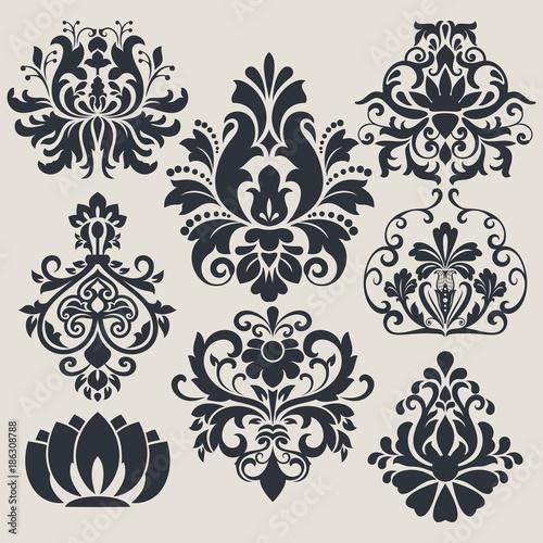 Vintage flower design elements - 186308788