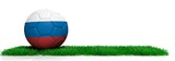 Russia soccer football ball on grass, white background. 3d illustration