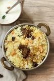 Homemade Beef Biryani served with Yogurt dip - 186337157