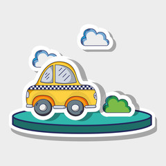transportation cab with clouds and bush patches