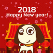 Chinese New Year 2018 Greeting Card Design with cute dog in Chinatown background, The year of Dog 2018.