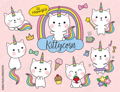 Cute white cat unicorn with rainbow horn and tail set including cute elements such as flower, ice-cream, cupcake, etc. - 186352755