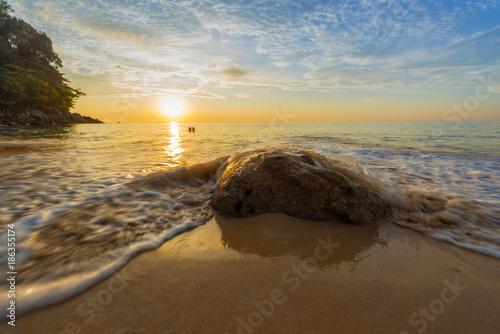 Aluminium Strand Sunset at Nai Thon beach
