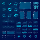 HUD elements collection. Set of graphic abstract futuristic hud pannels. Vector illustration - 186360938
