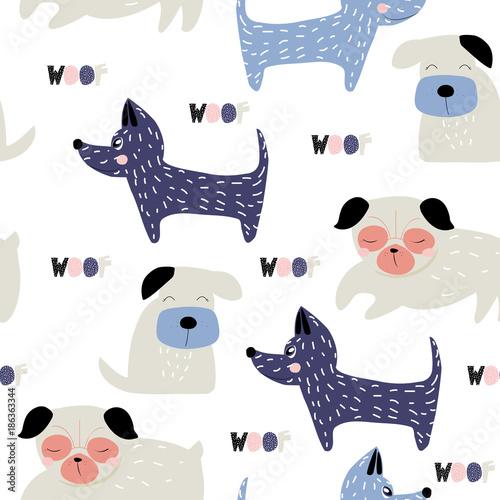 fototapeta na ścianę Funny dogs seamless pattern. Cute kids graphic. Vector hand drawn illustration.