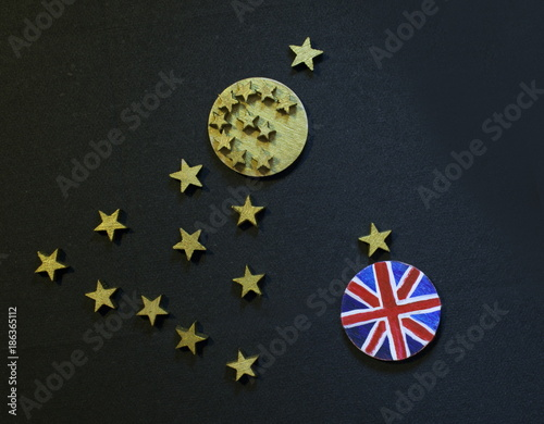 Foto op Canvas Brussel Christmas tree with euro coin and British coin, Brexit disintegrationconcept