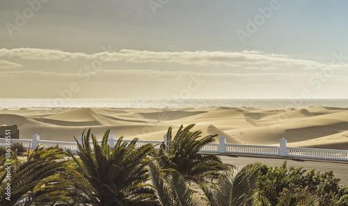 Foto auf Acrylglas See sonnenuntergang Dünen von Maspalomas, Gran Canaria
