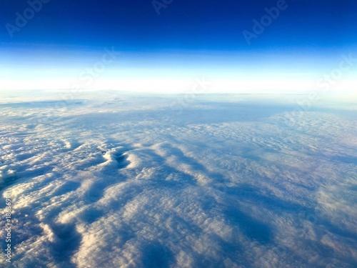 blue sky,cloud and horizantal line