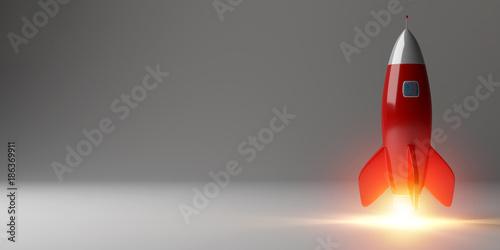 Leinwandbild Motiv Modern digital rocket launching 3D rendering